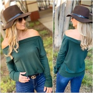 LAST ONE! Green Slouch On/Off Shoulder TUnic